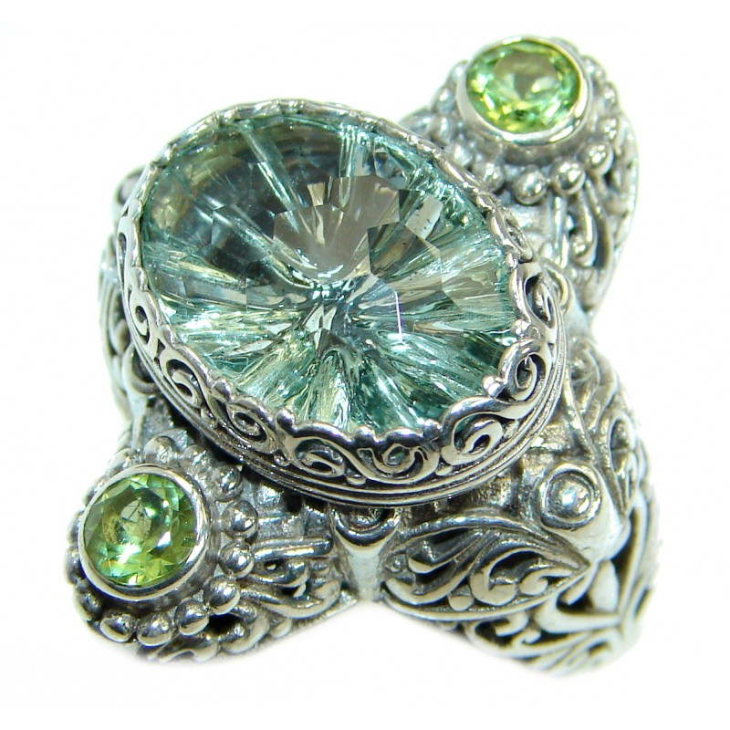Genuine Green Amethyst .925 Sterling Silver handmade Cocktail Ring s. 8