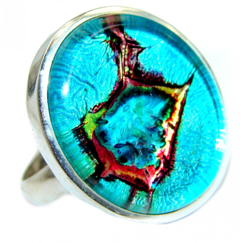 Dichroic Glass .925 Sterling Silver handmade ring size 9 3/4