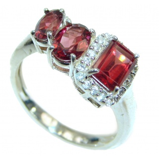 Genuine 15ct Garnet .925 Sterling Silver handmade Ring size 8 1/4