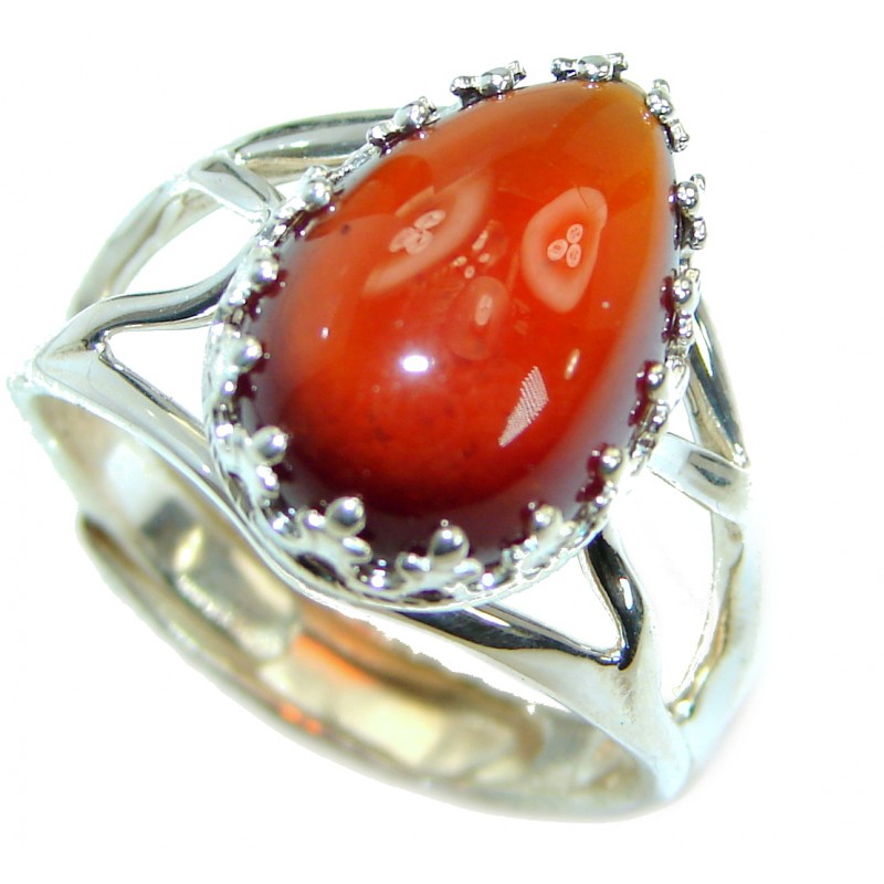 Genuine Garnet .925 Sterling Silver handmade Ring size 7 adjustable
