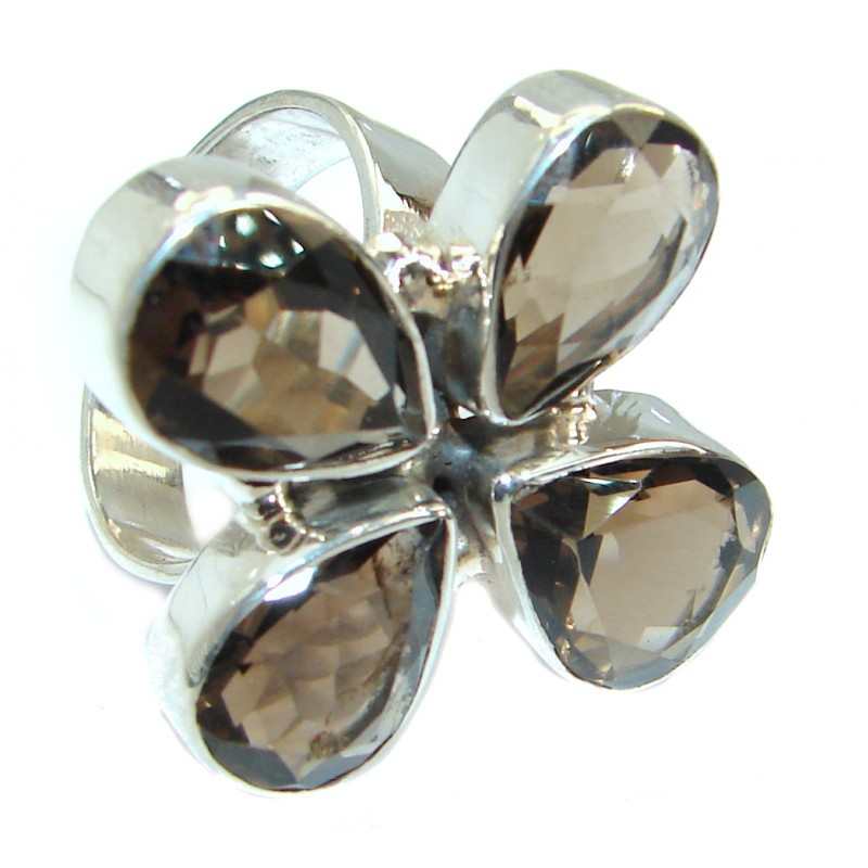 Huge Smoky Topaz .925 Sterling Silver Statement ring s. 10 1/4