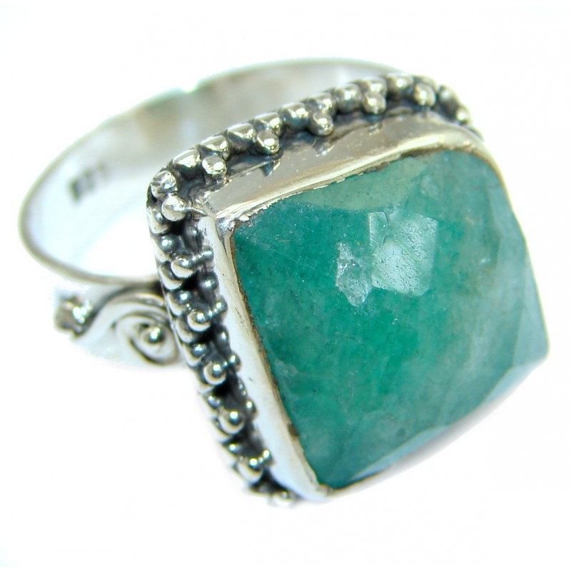Green Jade Sterling Silver ring s. 8 3/4