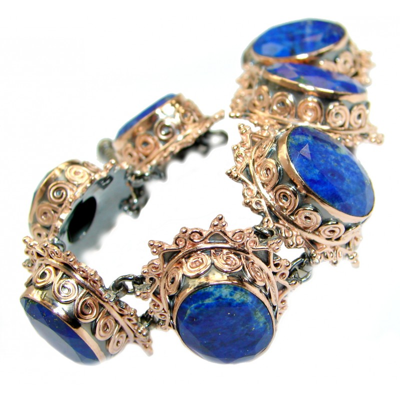 Baroque Design Lapis Lazuli Rose Gold over .925 Sterling Silver handcrafted Bracelet
