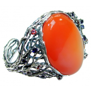 Large Burgundy Carnelian .925 Sterling Silver handcrafted Bracelet / Cuff