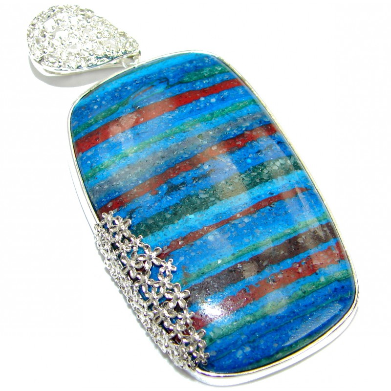 Huge Amazing Blue Rainbow Calsilica .925 Sterling Silver handmade Pendant