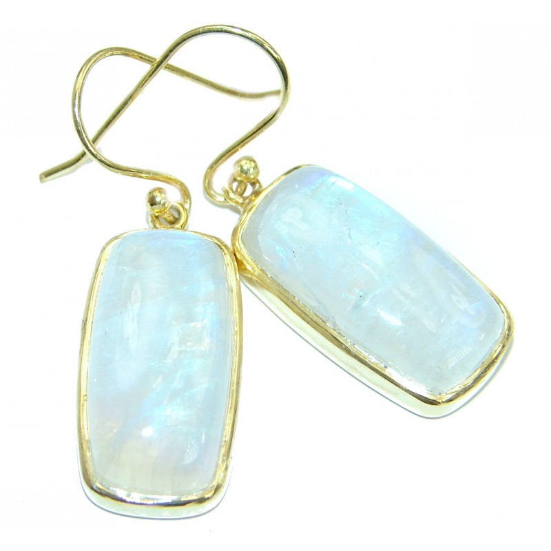 Excellent quality Rainbow Moonstone 18 ct. Gold over .925 Sterling Silver earrings