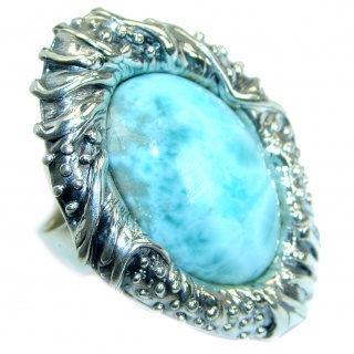 Large Boho Style Larimar .925 Sterling Silver handmade ring s. 7 adjustable