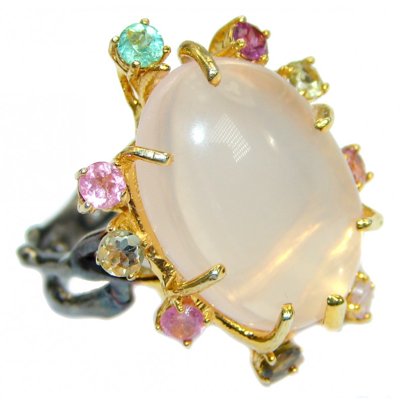 Genuine Rose Quartz 14K Gold over .925 Sterling Silver handcrafted Cocktail Ring s. 7 3/4