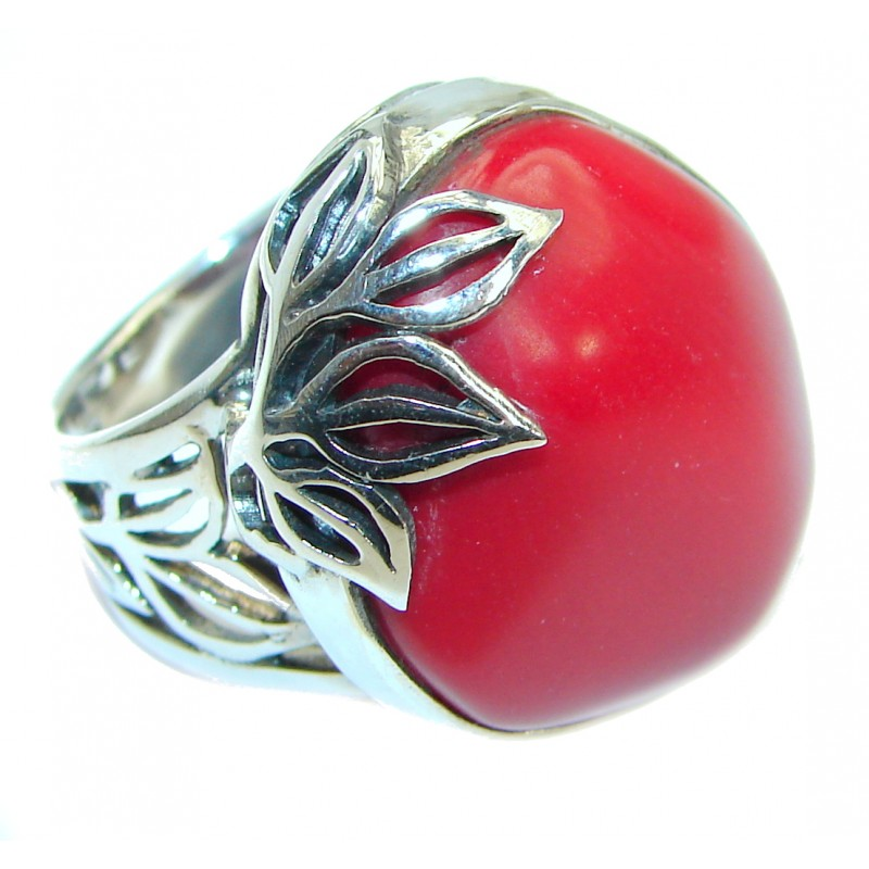Gorgeous natural Fossilized Coral .925 Sterling Silver handmade ring s. 8 adjustable