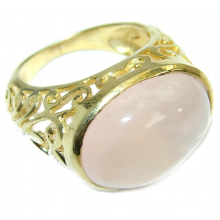 Rose Quartz 18K Gold over .925 Sterling Silver ring s. 9