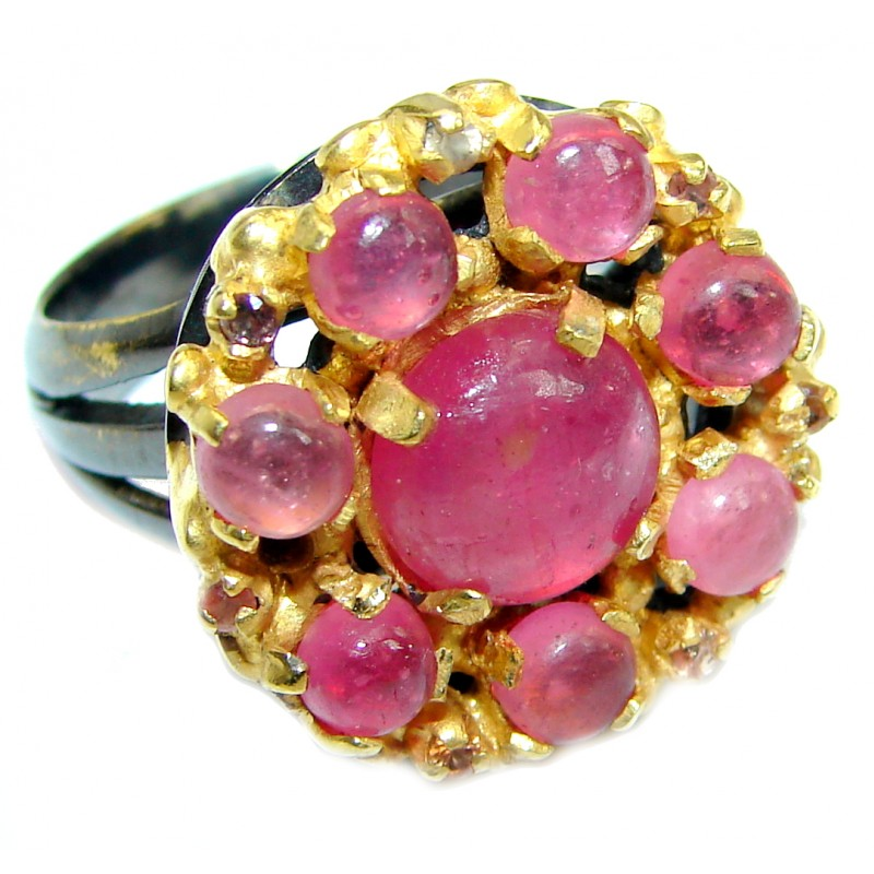 Authentic Ruby 18 ct Rose Gold over .925 Sterling Silver ring; s. 7