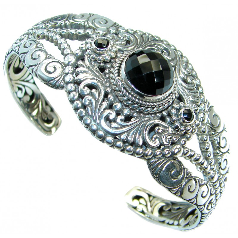 Huge Natural Black Onyx Oxidized .925 Sterling Silver handcrafted Bracelet / Cuff