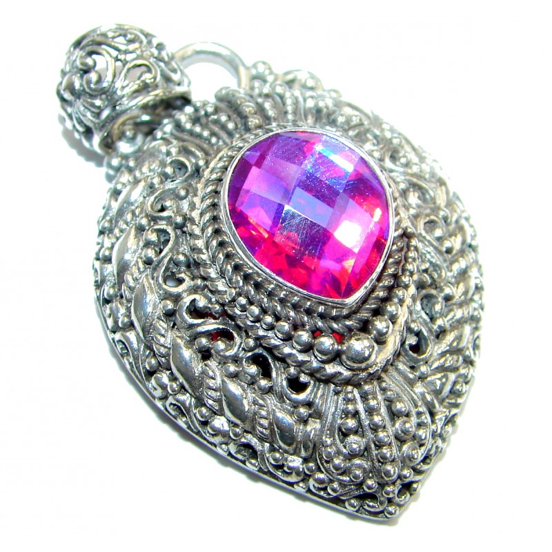 Royal Pink Magic Topaz .925 Sterling Silver handmade Pendant