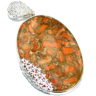 Huge Orange Turquoise with Copper vains .925 Sterling Silver habndmade Pendant