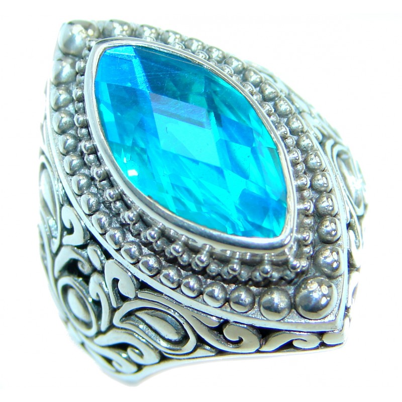 Huge Vintage Design Blue Aqua Topaz .925 Sterling Silver handcrafted ring s. 8