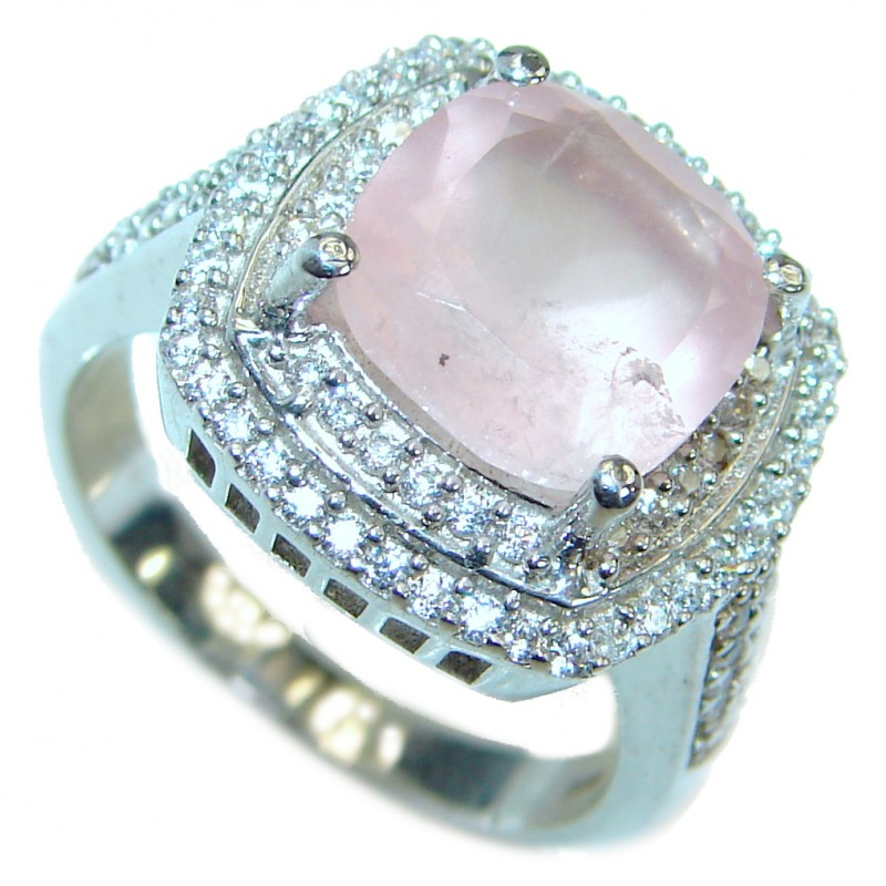 Princess Cut Rose Quartz .925 Sterling Silver ring s. 8