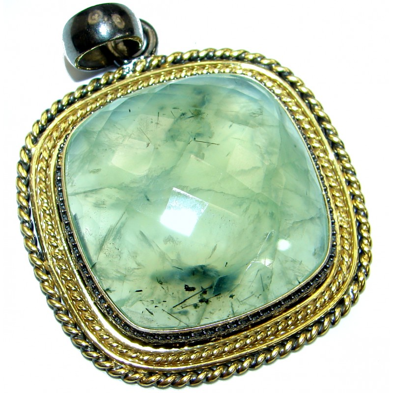 Natural Moss Prehnite 14K Gold Rhodium over .925 Sterling Silver handmade Pendant