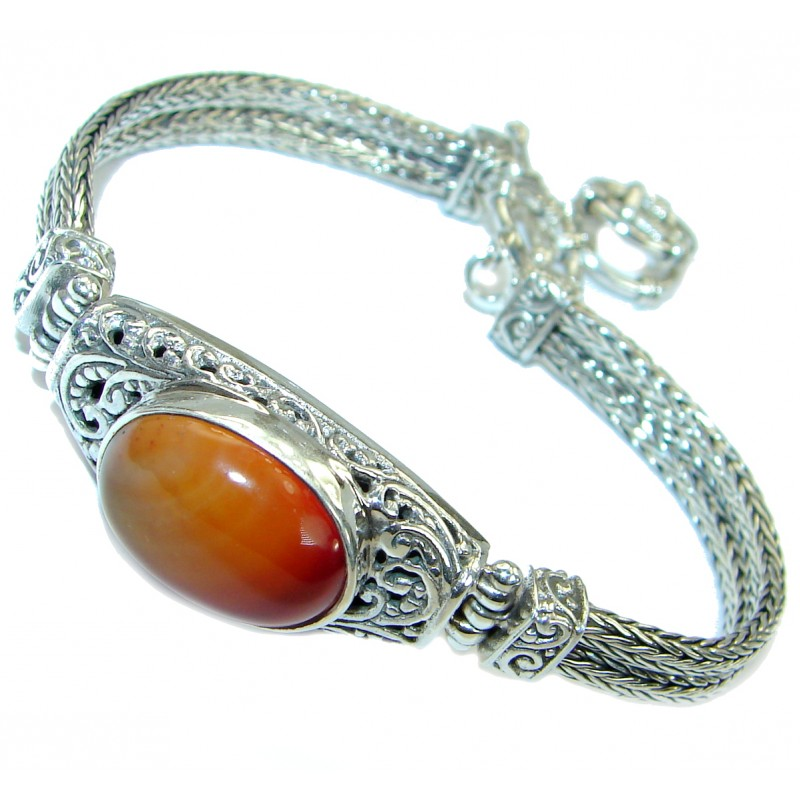 Sunset in Bali Carnelian .925 Sterling Silver handcrafted Bracelet