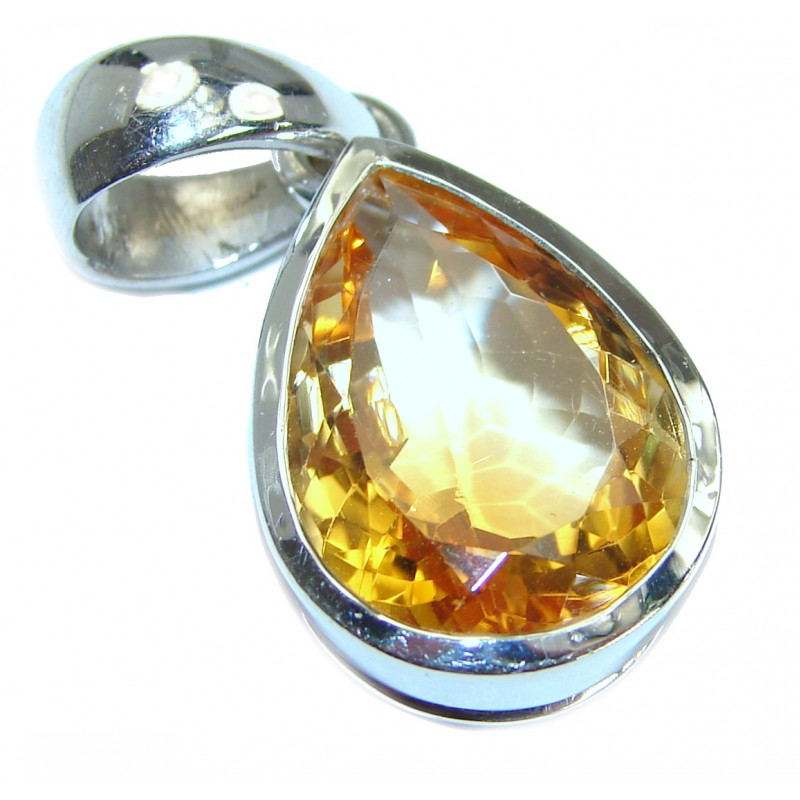 Vintage Design 45CT Genuine Citrine .925 Sterling Silver handcrafted pendant