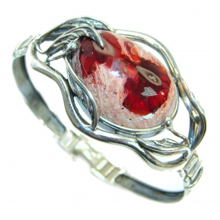 One of the kind Mexican Fire Opal Oxidized .925 Sterling Silver handcrafted Bracelet / Cuff