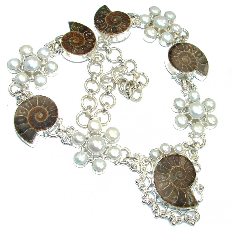 Fancy Genuine Ammonite Silver Tone handmade necklace