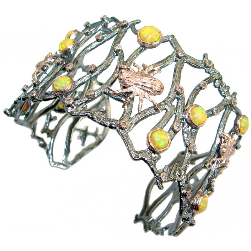 Spider's Web Japanese Opal Gold Rhodium plated over Sterling Silver Bracelet / Cuff