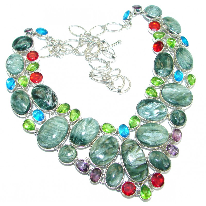 Large Authentic Russian Seraphinite Oxidized .925 Sterling Silver handmade necklace
