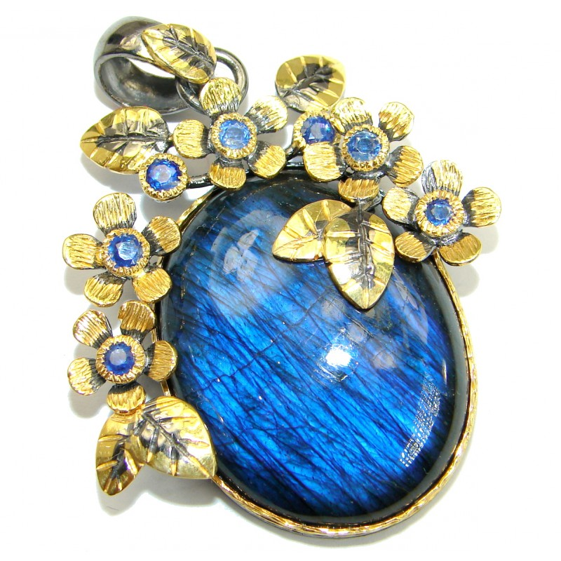 Floral Design genuine Fire Labradorite 14K Gold over .925 Sterling Silver handmade Pendant