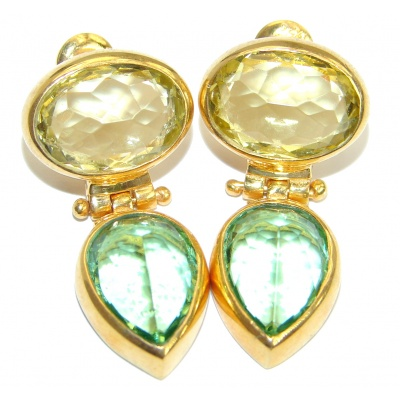 Authentic Green Topaz 14K Gold over .925 Sterling Silver handmade STUD earrings