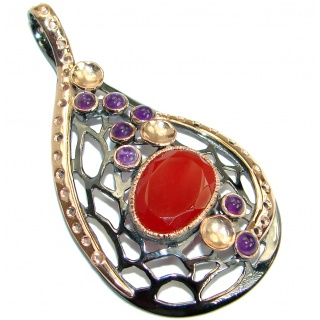 Orange Island Carnelian Rose Gold Rhodium over .925 Sterling Silver Pendant