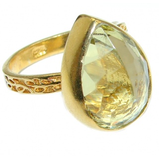 Citrine 14K Gold over .925 Sterling Silver Cocktail Ring size 8 adjustable