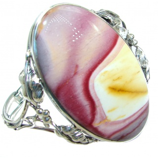 Huge Tuscon Sunset Mookaite .925 Sterling Silver entirely handcrafted Bracelet