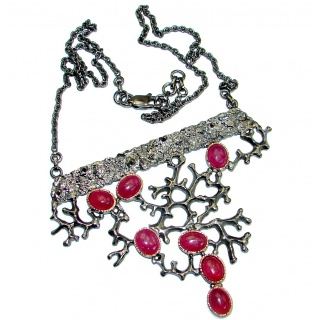 Authentic Ruby 18K Rose Gold Rhodium over .925 Sterling Silver handmade Statement Necklace