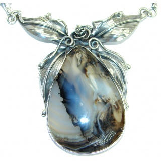Fine Art Aura Of Beauty Natural Botswana Agate Sterling Silver handmade necklace