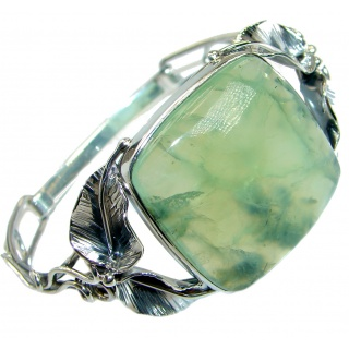 Genuine Moss Prehnite oxidized .925 Sterling Silver handcrafted Bracelet / Cuff