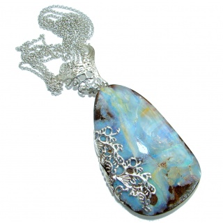 Large 3 5/8 inches genuine Australian Boulder Opal .925 Sterling Silver brilliantly handcrafted necklace