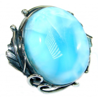 Genuine 85 ct Larimar oxidized .925 Sterling Silver handcrafted Ring s. 7 adjustable
