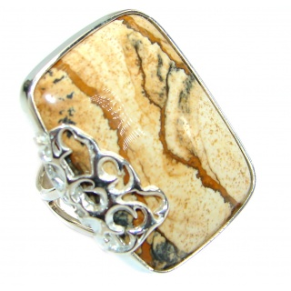 Picture Jasper .925 Sterling Silver handmade Ring s. 7 adjustable