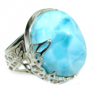 Genuine Larimar .925 Sterling Silver handcrafted Ring s. 7 adjustable