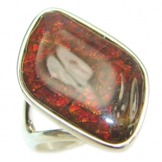 Great Energy Genuine Canadian Ammolite .925 Sterling Silver handmade ring size 8 1/4
