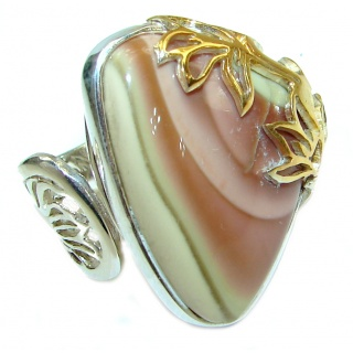 Genuine Imperial Jasper two tones .925 Sterling Silver handcrafted ring s. 7 adjustable
