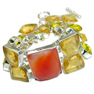 Sunset in Tuscon Authentic Carnelian Quartz .925 Sterling Silver handmade Bracelet