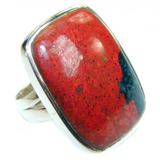 Sonora Jasper .925 Sterling Silver handcrafted Ring size 8 adjustable