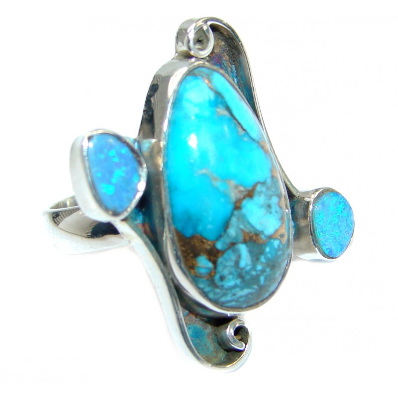 blue copper turquoise 925 sterling silver handmade ring s 8 7 50