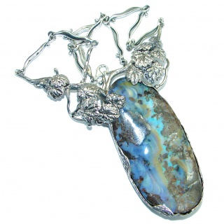 Spectacular genuine Australian Boulder Opal .925 Sterling Silver brilliantly handcrafted necklace