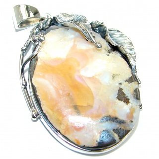Large Authentic Australian Boulder Opal .925 Sterling Silver handmade Pendant