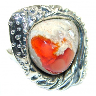 Mexican Opal oxidized .925 Sterling Silver handcrafted ring size 8 adjustable