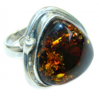 Genuine Baltic Polish Amber .925 Sterling Silver handmade Ring size 7 1/4