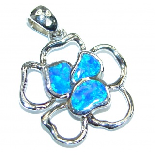 Great Japanese Opal Cubic Zirconia .925 Sterling Silver Pendant