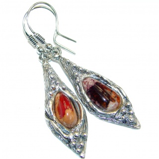 Unique Mexican Fire Opal oxidized .925 Sterling Silver handmade earrings